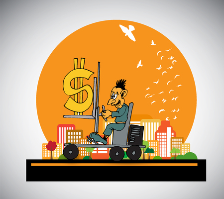 Businessman working character design, vector illustration Illustration