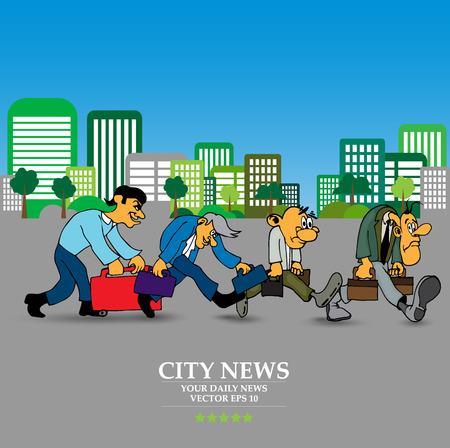 Businessman cartoon character with city background, vector illustration Çizim