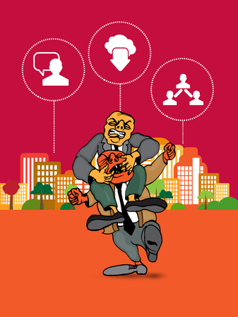 Businessman cartoon character with city background, vector illustration Ilustrace