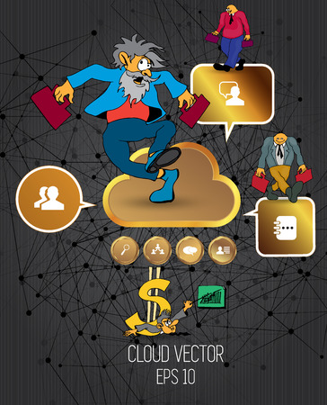 Businessman cartoon character with infographic elements, vector illustration Illustration