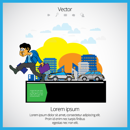 Businessman cartoon character with city background, vector illustration Illustration