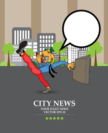 Businessman cartoon character with city background, vector illustration Stock Illustratie