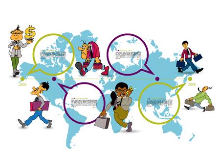 World map with business cartoon character, vector illustration Ilustração