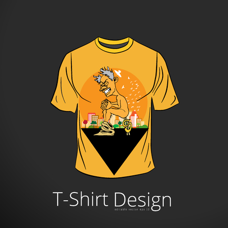 T-shirt with cartoon businessman character, vector illustration