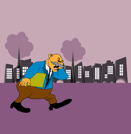 Businessman cartoon character with city background, vector