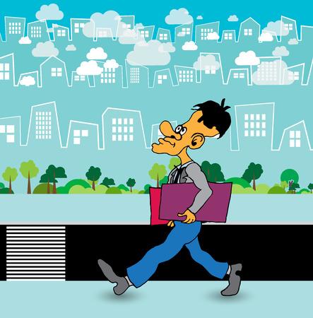 Personaje de dibujos animados de empresario con fondo de ciudad, vector