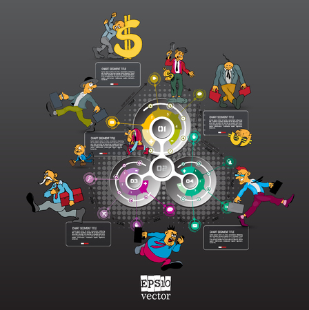 Abstract infographics template with cartoon character. Vector illustration Reklamní fotografie - 124601621