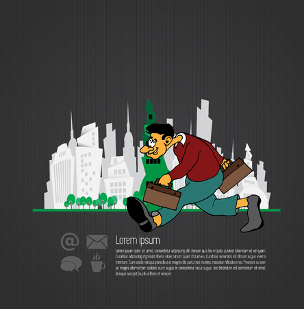 Businessman cartoon character with city background, vector illustration