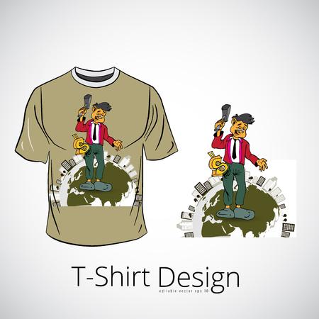T-shirt con personaggio dei cartoni animati uomo d'affari, illustrazione vettoriale Vettoriali