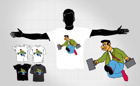 T-shirt with cartoon businessman character, vector illustration.
