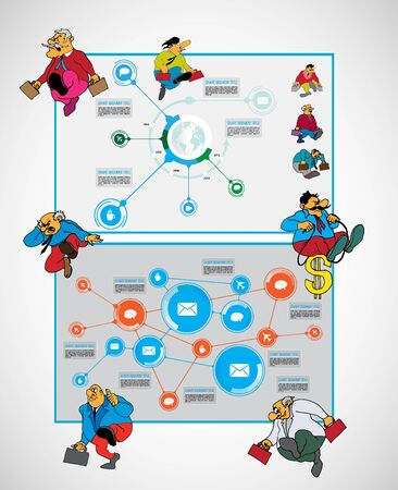 Abstract infographics template with cartoon character. Vector illustration