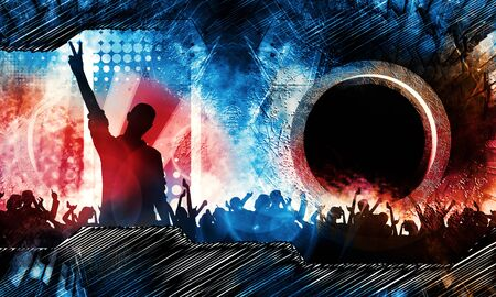 Party background with dancing people