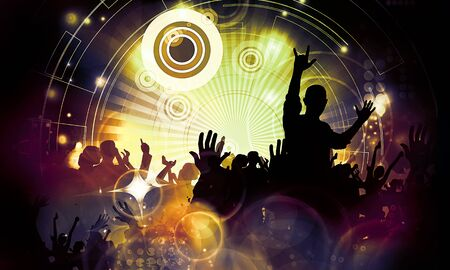 Dancing people at music festival
