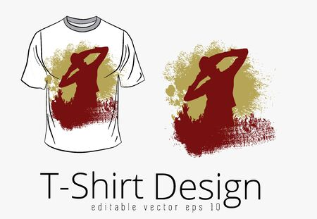 T-shirt template with happy, dancing people, vector Ilustrace
