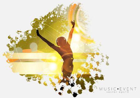 Silhouettes of dancing people in a club Illusztráció