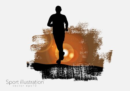 Young fitness runner - vector illustration