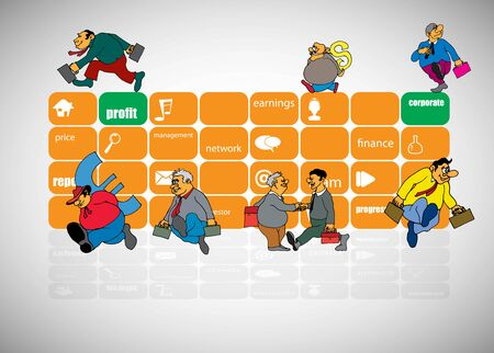 Vector illustration of corporate structure, cartoon character of business team.