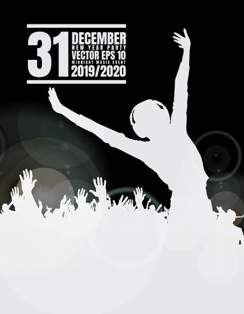New year party. Silhouettes of dancing people in a club