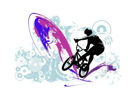 BMX rider on the abstract background, sport vector Banco de Imagens - 137339503