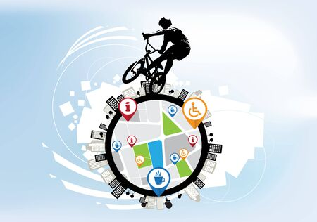 BMX rider on the abstract background, sport vector