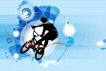BMX rider on the abstract background, sport vector Banco de Imagens - 137339965