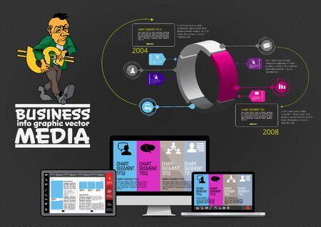 Diseño infográfico moderno con diagrama y tecnología informática.
