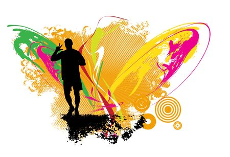 Running man. Sport background ready for poster or banner, vector.