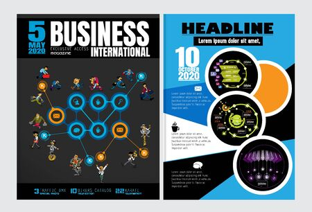 Business magazine, brochure layout with economy subject, vector