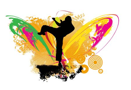Young male karate warrior. Healthy lifestyle. Martial arts. Vector