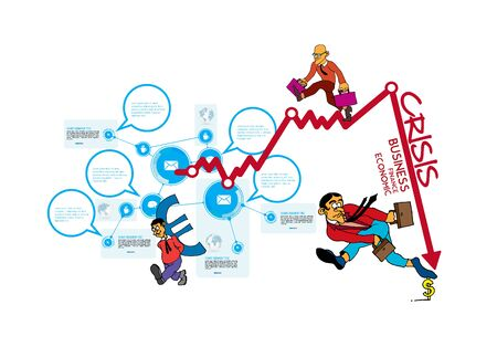 Crisis impact on global economy and stock markets. Financial crisis concept illustration Vettoriali