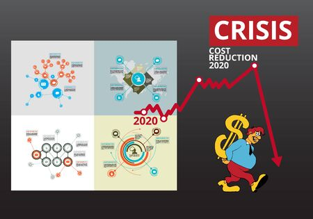 Crisis impact on global economy and stock markets. Financial crisis concept illustration