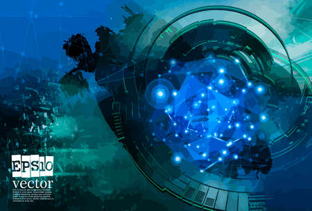 Abstract technology concept background, vector illustration Stockfoto - 151087644