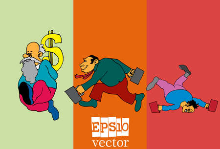 Set of businessman cartoon character, vector illustration
