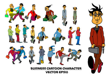 Cartoon business people. Funny face expressions, caricature emotions, vector