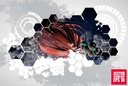 Vector abstract technology digital hi tech background, 3D illustration 矢量图像