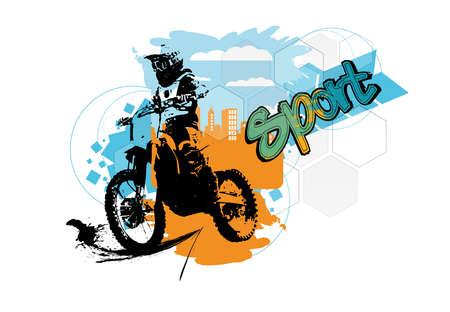 Man riding motorbike, extreme sport racing, vector illustration 矢量图像