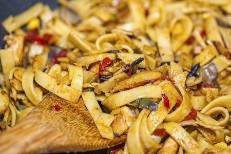 Bami Goreng is a pasta dish. Dish is made on a indonesian way with chicken brast and pasta.