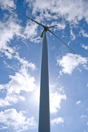 wind turbine under blue sky photo