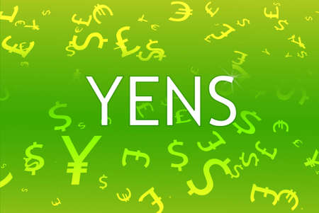 Different currencies on green background photo