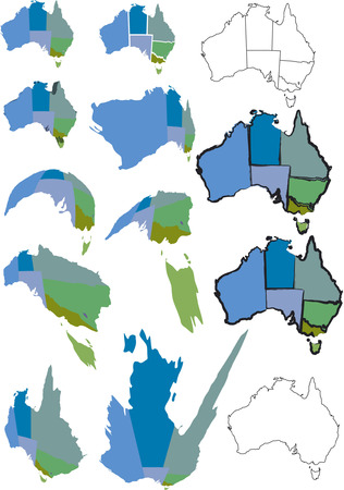 separate: Australian map with states as separate objects