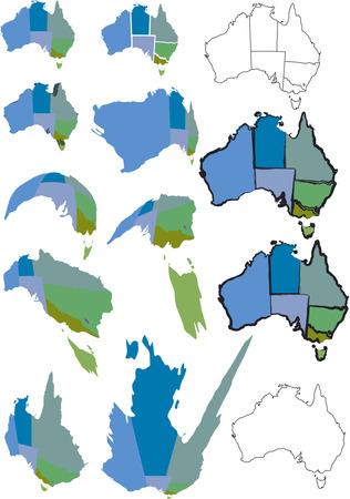 separato: Australian mappa con gli stati come oggetti separati