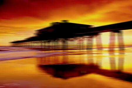 An abstract look at Sunglow Fishing Pier in Daytona Beach, Florida Stock Photo
