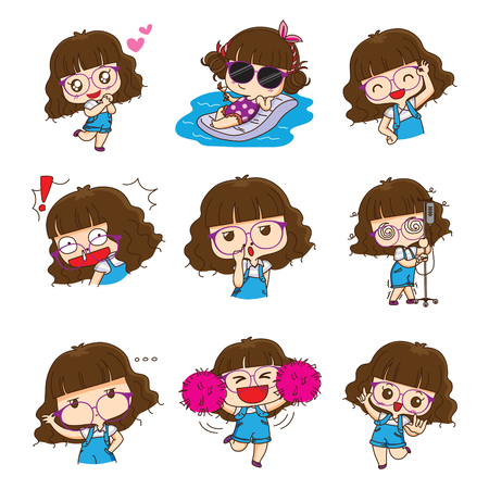 Cute glasses girl character design in different emotions and expressions. Editable stroke.