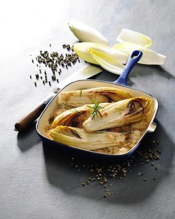 Caramelised fried chicory.