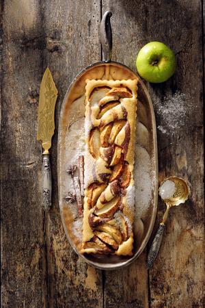 Cheesecake apple tart. Stock Photo