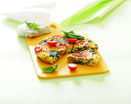 Spinach, tomato and cheese omelet.