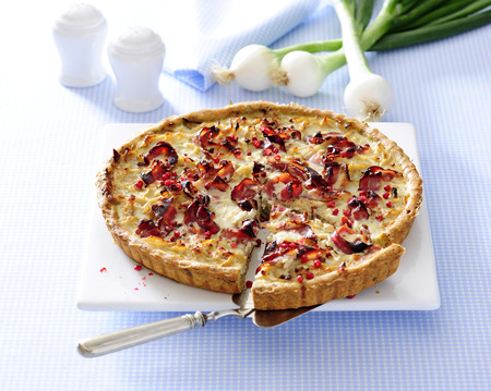 Onion and smoked bacon famous french tart  quiche lorraine.