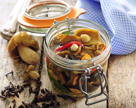 Polish or Russian picked forest mushrooms preserved in vinegar with spices.