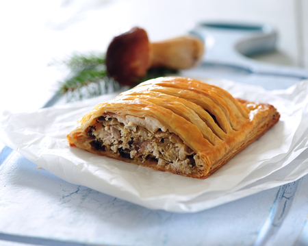 Oven baked wild mushrooms and cabbage puff pastry jalous pie