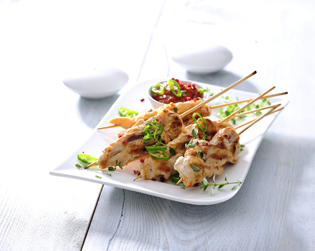Barbecued chicken skewers with sun-dried tomato sauce. 스톡 콘텐츠